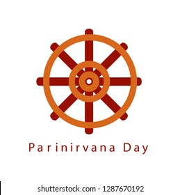 Parinirvana or nirvana Day refer to nirvana-after-death. Buddhist wheel of Dharma symbol