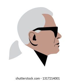 Paris, 19 February 2019: Karl Lagerfeld. creative director, artist and photographer. Vector editorial illustration.