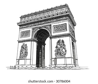 "Paris, "" Arc de triomphe"" : Vector representation of an Hand drawing"