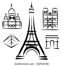 Paris architecture, set of vector symbols in black lines