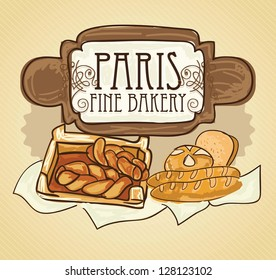 Paris Bakery (premium line) different products. On vintage background.