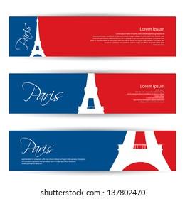 Paris banners - vector illustration