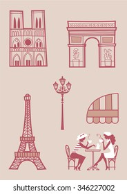 Paris Building icons with silhouettes