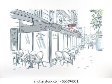 paris cafe outdoor sketch vector watercolor