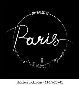 Paris Calligraphy City of Lovers Minimal Paris silhouette Fashion Slogan with line, for T-shirt and apparels tee graphic vector Print.