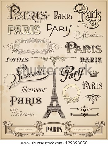 Paris calligraphy set of