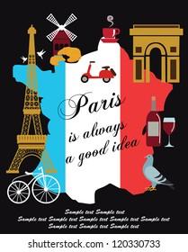 Paris card design. vector illustration