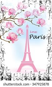 Фотообои Paris Card with Eiffel tower and Magnolia flowers. Vector illustration.