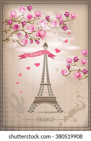 Фотообои Paris Card with Eiffel tower and Magnolia flowers. Vector illustration.Vintage poster.