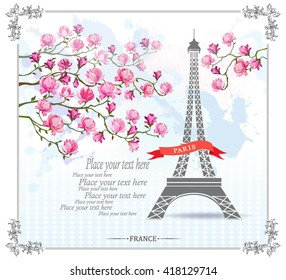 Фотообои Paris Card with Eiffel tower and Magnolia flowers. Vector illustration. Postcard. Template for design.