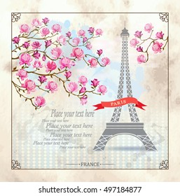 Фотообои Paris Card with Eiffel tower and Magnolia flowers on old background. Vector illustration. Postcard. Template for design.