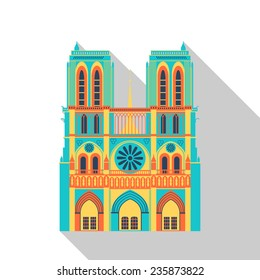Paris cathedral landmark flat icon. Vector building flat style pattern isolated on white. Iconographic with flat-style shadow.