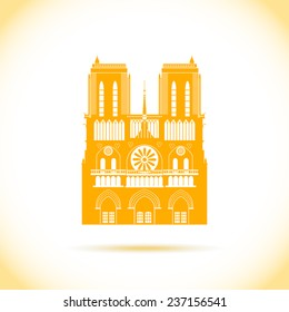 Paris cathedral shadow silhouette icon. Vector flat style pattern isolated on white. Flat and simple.