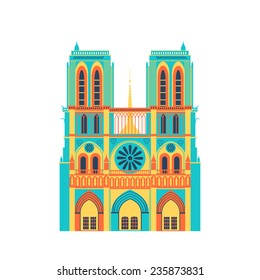Paris cathedral vivid icon. Vector flat style pattern isolated on white. Flat and simple.