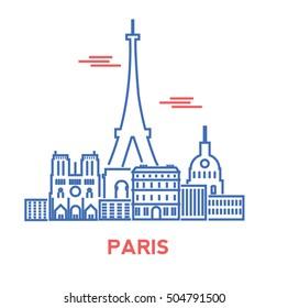 Paris city architecture retro vector illustration, skyline city silhouette, skyscraper, stroke design