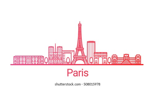 Paris city colored gradient line. All Paris buildings - customizable objects with opacity mask, so you can simple change composition and background fill. Line art.