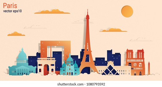 Paris city colorful paper cut style, vector stock illustration. Cityscape with all famous buildings. Skyline Paris city composition for design
