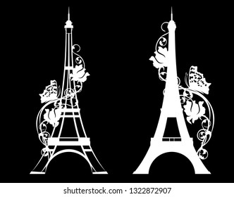 paris city eiffel tower with rose flowers and butterfly - white vector silhouette over black