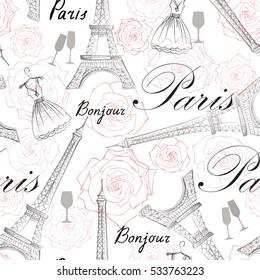 Paris city landmark Eiffel Tower and handwritten lettering PARIS seamless pattern. Travel France famous place floral tile background.