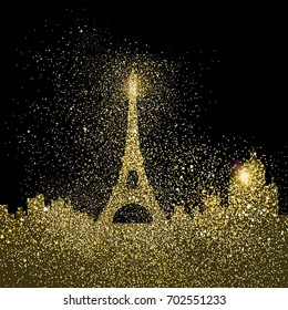 Paris city landscape silhouette, gold cityscape design made of realistic golden glitter dust on black background. EPS10 vector.