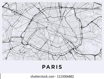 Paris city map. Map of Paris (France). Black and white (light) poster with parisian street map. Paris map illustration.