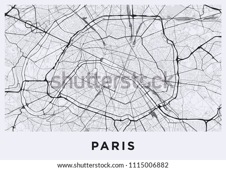 Paris City Map Map Paris France Stock Vector (Royalty Free ...