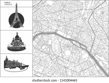 Paris city map with hand-drawn architecture icons. All drawigns, map and background separated for easy color change. Easy repositioning in vector version.