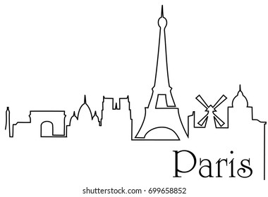 Paris city one line drawing background