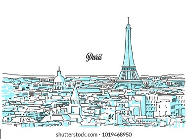 Paris Cityscape Sketch. Hand Drawn Vector Illustration. Business Travel and Tourism Concept with Modern Architecture.