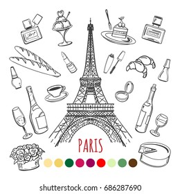 Paris coloring page with color swatches, vector illustration