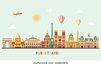 Paris detailed skyline. Travel and tourism background. Vector illustration