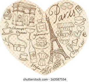 Paris doodle icons in heart shape