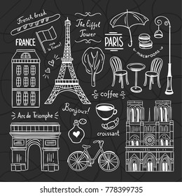 Paris doodle illustrations vector set. Hand drawn France icons and traveling symbols