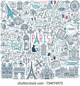 Paris doodle set. Popular French landmarks, food and attractions. Vector illustration isolated on white background