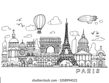 Paris  doodles drawing landscape,Sketch collection