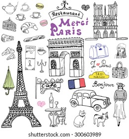 Paris doodles elements. Hand drawn set with eiffel tower bred cafe, taxi triumf arch, Notre Dame cathedral, fashion elements, cat and french bulldog. Drawing doodle collection, isolated on white.