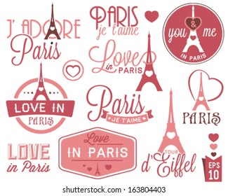 Paris - Eiffel Tower Badges and Labels in Vintage Style