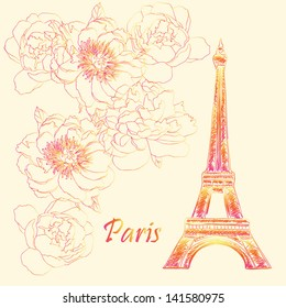 Paris Eiffel tower hand drawn stylish colorful postcard vector design background
