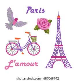 Фотообои Paris embroidery set with Eiffel tower on white background.