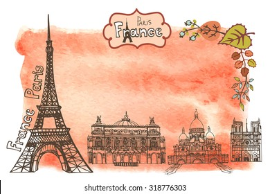 Paris Famous landmarks with autumn leaves ,watercolor splash background.Vintage doodle  sketchy.Notre Dame,Eiffel tower,Sacre Coeur,Grand Opera.Fall design template,artistic Vector illustration.
