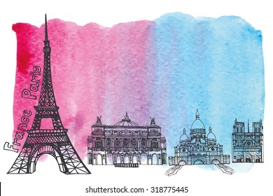 Paris Famous landmarks panorama skyline,watercolor splash background.Vintage doodle  sketchy.Notre Dame,Eiffel tower,Sacre Coeur,Grand Opera.Design template,artistic Vector illustration.