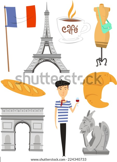 Paris France Cartoon Icons Stock Vector Royalty Free 224340733