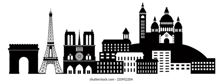 Paris France City Skyline Outline Silhouette Black Isolated on White Background Panorama Vector Illustration