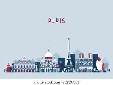 Paris (France) city skyline vector background. Flat trendy illustration.