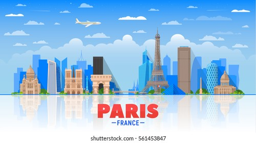Paris (France) city skyline vector background. Flat vector illustration. Business travel and tourism concept with modern buildings. Image for banner or web site.