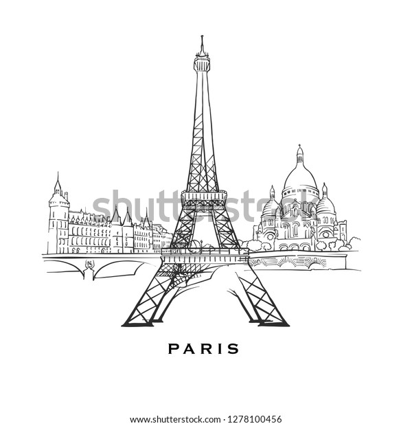 Paris France Famous Architecture Outlined Vector Stock Vector