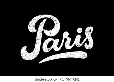 Paris, France hand lettering vector illustration with texture. Modern brushpen calligraphy for t-shirt, banner, poster, flyer, postcard, print, fridge magnet