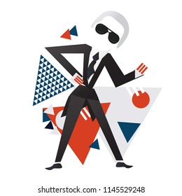 Paris, France - July 30, 2018: creative director and artist Karl Lagerfeld with Constructivism Bauhaus Suprematism style elements.