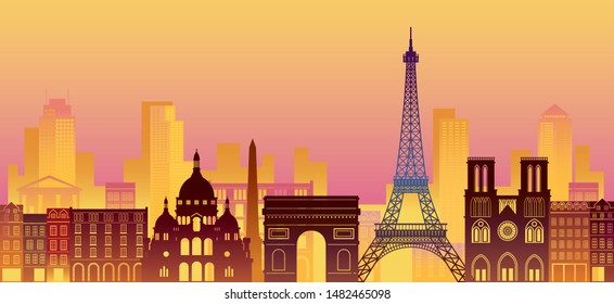 Paris, France Landmarks Skyline, Night Scene, Famous Place, Travel and Tourist Attraction