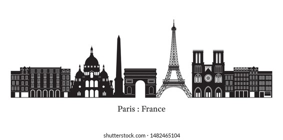 Paris, France Landmarks Skyline, Silhouette, Famous Place, Travel and Tourist Attraction